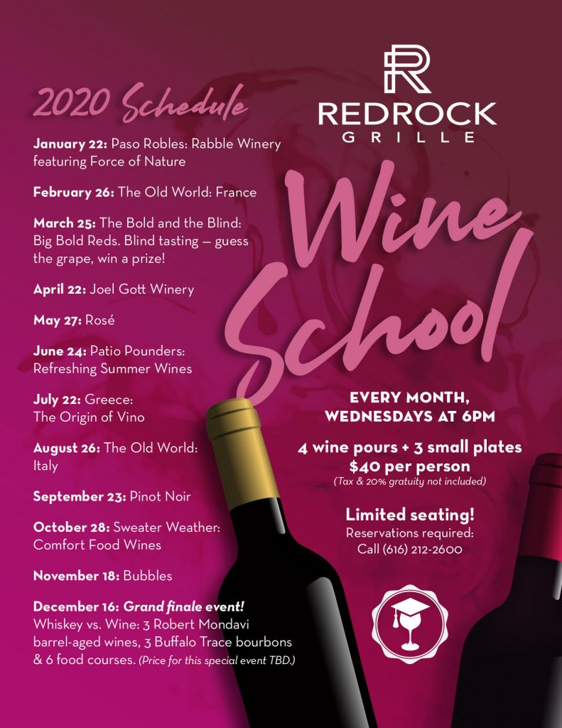 Monthly schedule for Wine School at RedRock Grille