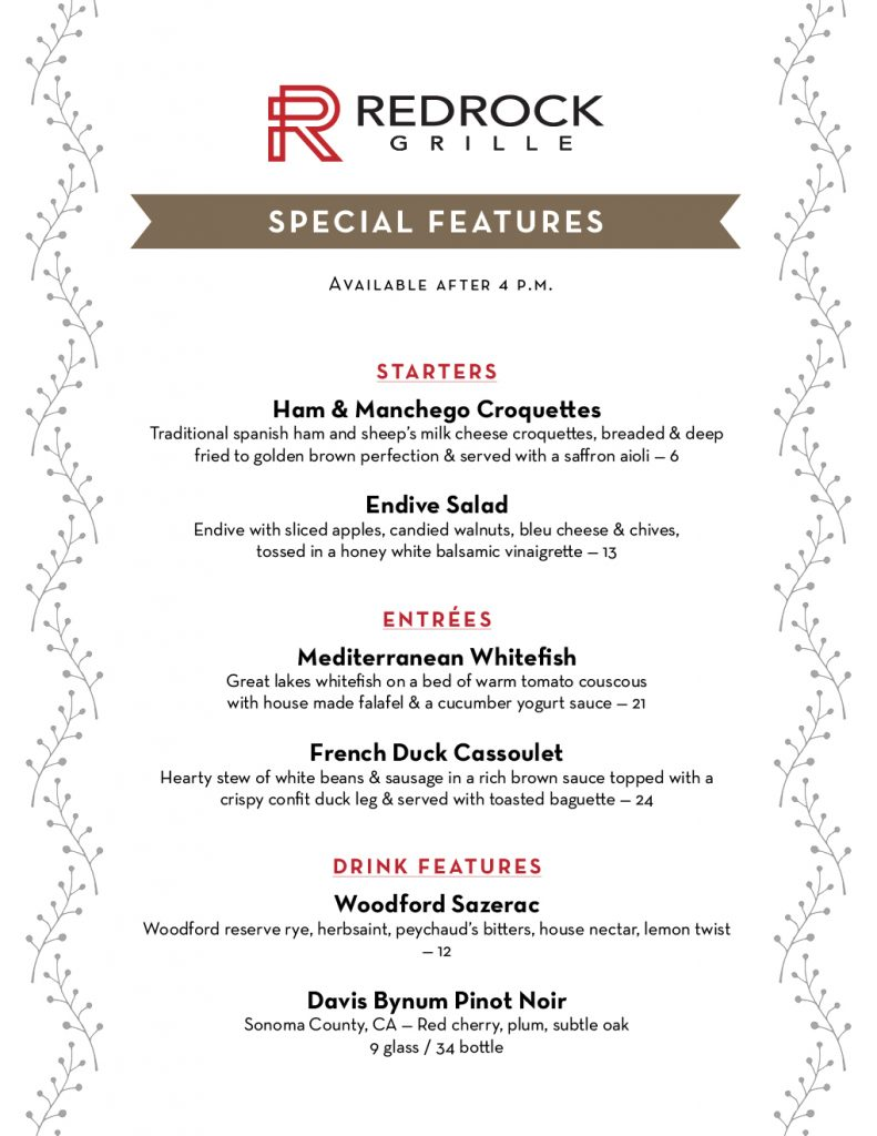 Come try our chef's October special features! (Available after 4 p.m.) Ham & Manchego Croquettes Endive Salad Mediterranean Whitefish French Duck Cassoulet